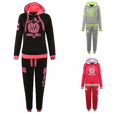 New Ladies Baseball Fleece Florescent Tracksuit Women Cuff Jogging Bottom & Top