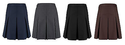 Girls Ex High Street Pleated School Uniform Skirt Navy Grey Black, Brown, Green
