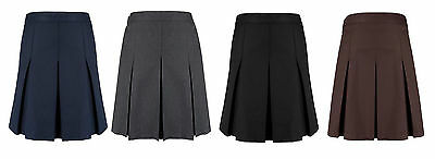 Girls Pleated School Skirt Ex High Street Navy,Grey, Black, Brown & Green