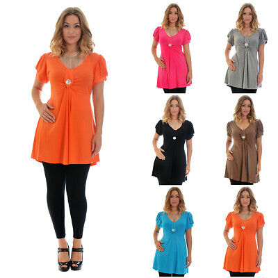 New Top Plus Size Ladies Womens T-Shirt Elasticated Smock Tie Back Nouvelle