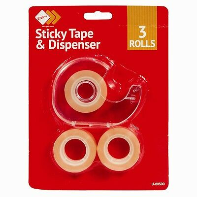 Pack of 3 Rolls Mini Sticky Tape And Dispenser - Brand New