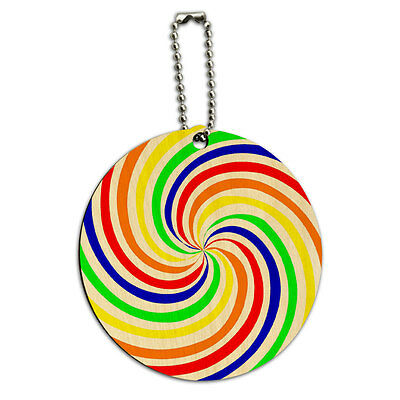 Rainbow Swirl Candy Round Wood ID Tag Luggage Card Suitcase Carry-On