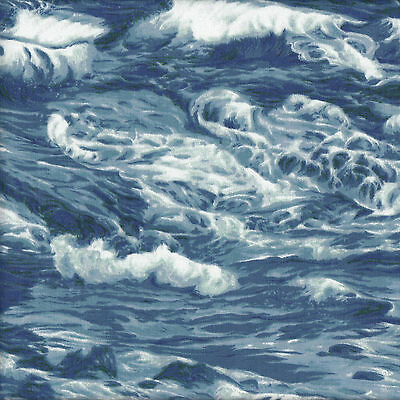 Ocean Waves Water Sea Surf Nature Landscape Quilt Fabric FQ or The Metre NEW