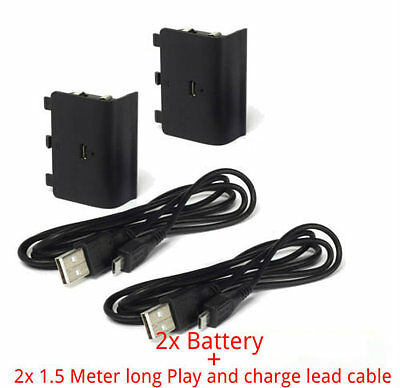 2X Rechargeable 1200mAh Battery Pack + Play&Charge Cable for Xbox One Controller