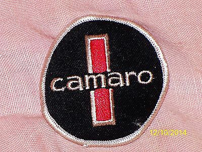 """Vintage Camaro Embroidered Iron-On Patch Red Black Silver Piping 2 3/4"""" Diameter"""