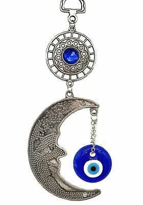 Blue Evil Eye with moon Protection amulet wall hanging deocration ornament
