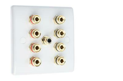 4.1 Speaker Audio Wall Face Plate - White Slimline - NO SOLDERING REQUIRED