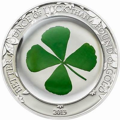 Palau 2013 5$ FOUR LEAF CLOVER With Real Clover Embedded 1oz Silver Coin