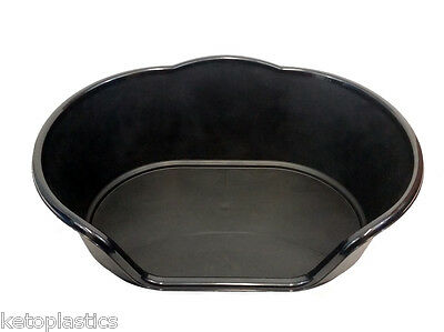 Medium Plastic Black Dog / Cat / Pet Bed, Basket - Heavy Duty Made In Uk