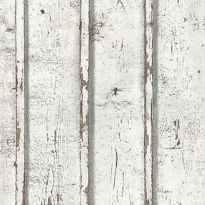 Rustic French Provincial White Timber Distressed Panelling - Wallpaper - 10m
