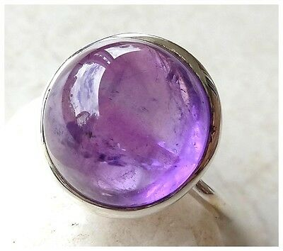 925 Sterling Silver PURPLE AMETHYST Semi Precious Gemstone CAB RING SIZE N 1/2