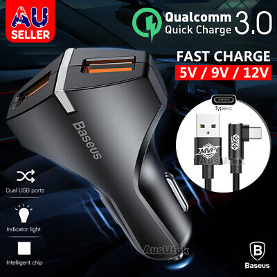 Fast Charging CAR Charger USB Type C Cable Samsung Galaxy S8 S9 S10 Plus Note 10