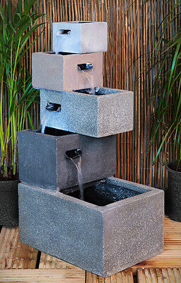 Urban Design Grey Stone Cube Water Feature Fountain Modern