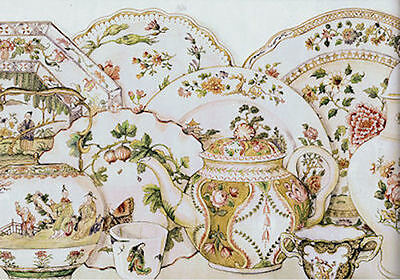 Waverly Porcelain Menagerie Wallpaper Border in Document Color  5510071