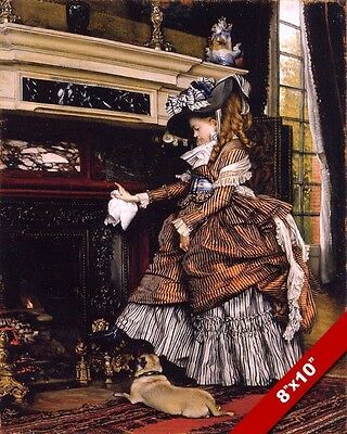 Young Victorian Era Girl In Dress & Pug Dog Fireplace Painting Art Canvas Print