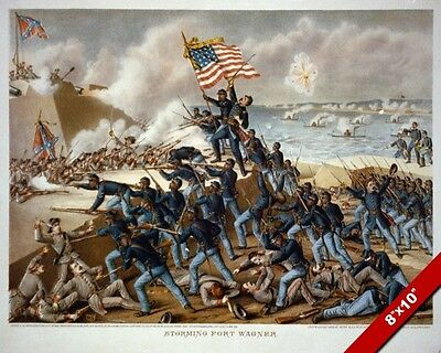 Us Civil War Storming Of Battery Fort Wagner Painting Art Real Canvas Print