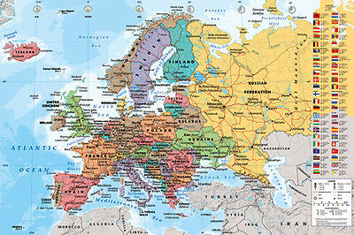 (LAMINATED) MAP Of Europe POSTER (61x91cm) Educational Wall Chart Picture Print