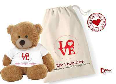 PERSONALISED VALENTINES TEDDY BEAR & GIFT BAG- ANY NAME & WORDING-Love Design