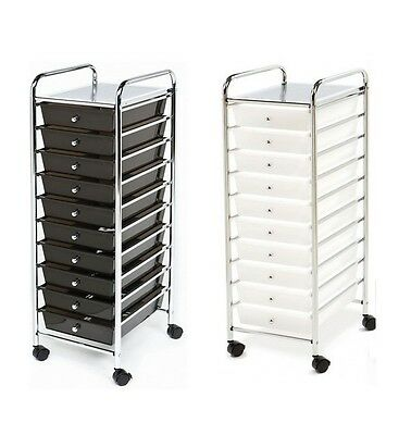 Rolling Storage Cart Rolling File Cart 10 Drawer Cart Bins Tools Office NEW!