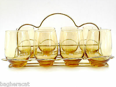 Retro Libbey Amber Tempo Glasses with Gold-tone Caddy