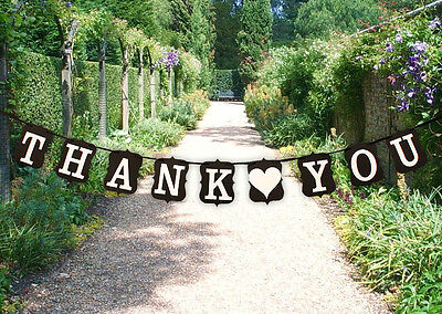 Thank You Wedding Bunting Banner Cardboard Wedding Decoration, Black - UK SELLER