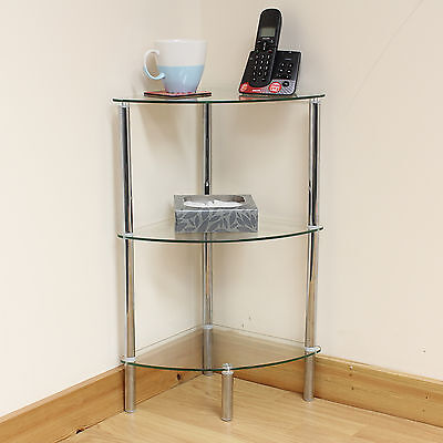 Hartleys 3 Tier Clear Glass Corner Side/End Table Shelf/Display Unit Lounge/Hall