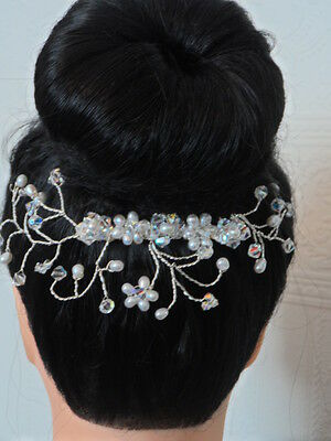 Freshwater Pearl and Crystal Bridal Hair Comb Vine Wedding Hair Accessory Bride