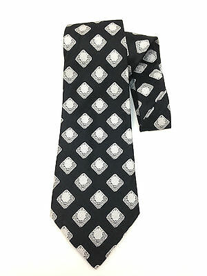 "True Vintage Kipper Necktie 4.8"" Wide Neck Tie Art Deco Black Diamond Silver"