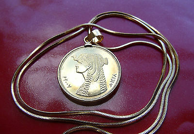 "Egyptian Cleopatra Africa Coin Pendant on a 24"" 18k Gold Filled Snake Chain"