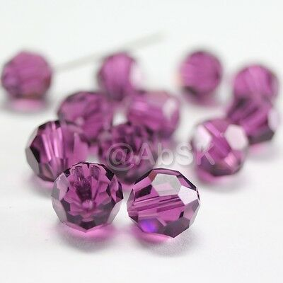 48 pieces Swarovski Element 5000 faceted 5mm Round Ball Beads Crystal Amethyst