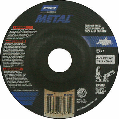 Norton Metal Grinding Wheel-4.5in Dia. #076607-75910-8