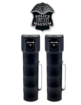 2 Police Magnum mace pepper spray .75oz flip top stream MK22 defense protection