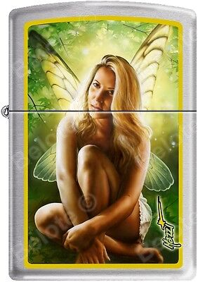 Zippo Mazzi Green Fairy, Wings, Butterfly, Angel Satin Chrome Lighter NEW