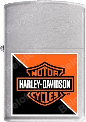 Zippo HD Harley Davidson Orange Black Shield Logo Satin Chrome Lighter NEW