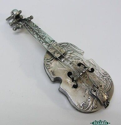 Novelty Antique Dutch Silver Miniature Cello Netherlands Circa 1850
