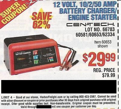 Harbor FreightCoupon to save $50 on 12 volt 10/2/50 Amp Battery Charger