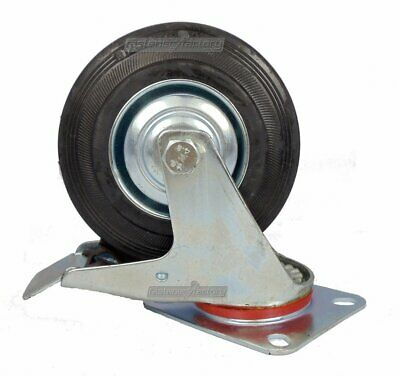 "5"" (125mm) CASTORS SWIVEL (2x FIXED & 2x BRAKE) RUBBER HEAVY DUTY CASTER WHEELS"