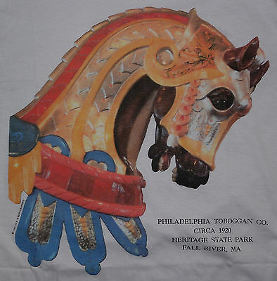 Antique Wooden Carousel Horse T-Shirt/Heritage State Park Fall River MA XL NWT