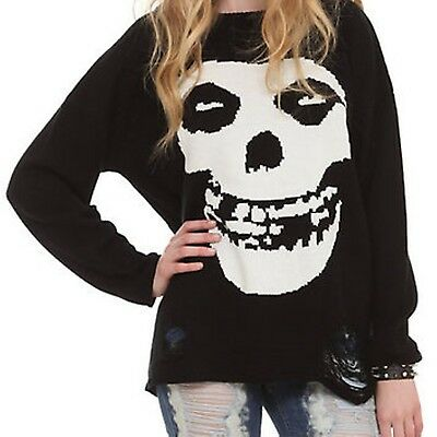 Iron Fist Misfits Scoop Neck Sweater Long Sleeve Distressed  Sm  Med   XS + Smal