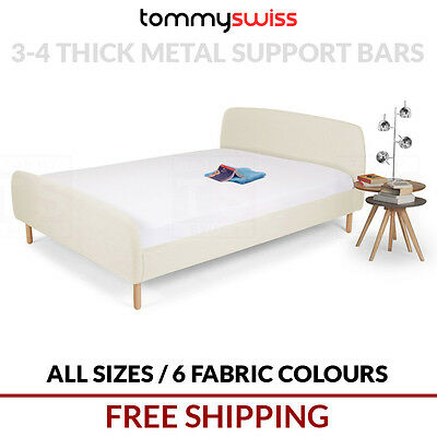 TOMMY SWISS: DELUXE King, Queen & Double Size Fabric Bed Frame Wood Legs - B306