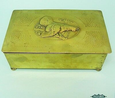 WMF Arts & Crafts Brass Hammered Game Bird Cigar Box Humidor Germany Circa 1910