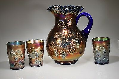 ca. 1911 FLORAL and GRAPE Fenton ELECTRIC ROYAL BLUE Water Pitcher & 3 Tumblers