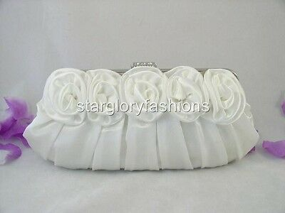 White Satin Roses Pleated Wedding Clutch Rhinestones 13 Colors