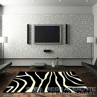design teppich zebra 160 x 230 schwarz weiss afrika exotisch safari style l ufer eur 45 95. Black Bedroom Furniture Sets. Home Design Ideas
