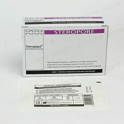 Steropore Adhesive Wound Dressing Large First Aid Sterile Plaster 8.6x 6cm Qty 5
