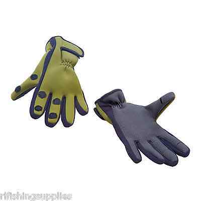 Green Neoprene Fishing Gloves, Folding Fingers, Hunting, Shooting Size M / L