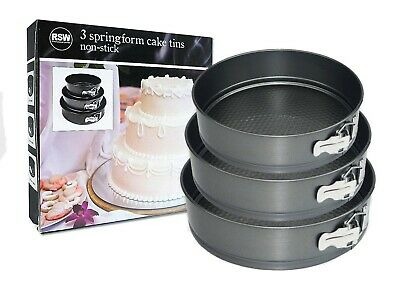 Pack of 3 Non-Stick Springform Round Cake Tins for Baking 18cm, 22cm & 26cm