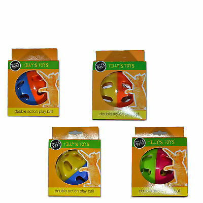 Cat Toy Play Ball Double Action Kitten Training Fun Colourful Interaction