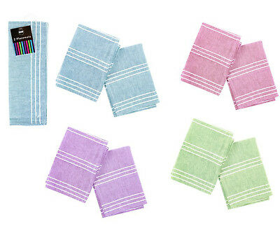 Place Mats Pack of 2 40x30cm Fabric Dinner Placemats Blue Green Pink or Purple