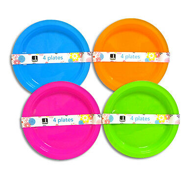 """""""Bello"""" Pack of 4 Re-Usable Plastic Plates - For Parties, Picnics & BBQ's"""